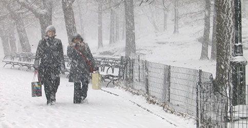 Frauen in Central Park im Schnee