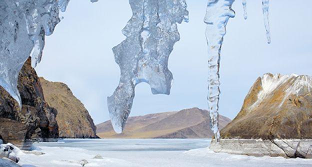 Eiszapfen, Sibirien, Winter