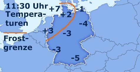 Temperaturen in Deutschland um 11 Uhr
